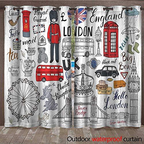 Doodle Patio Gazebo Pergola Cabana I Love London Double Decker Bus Telephone Booth Cab Crown of United Kingdom Big BenW108 x L108 Multicolor ()