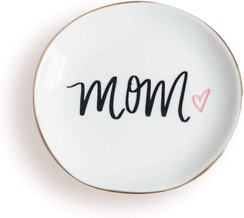 Sweet Water Decor Bandeja de cerámica para Anillos de mamá, para Regalo para mamá, Esposa, corazón, Oficina, Oficina, decoración del hogar, Oficina, con Letras