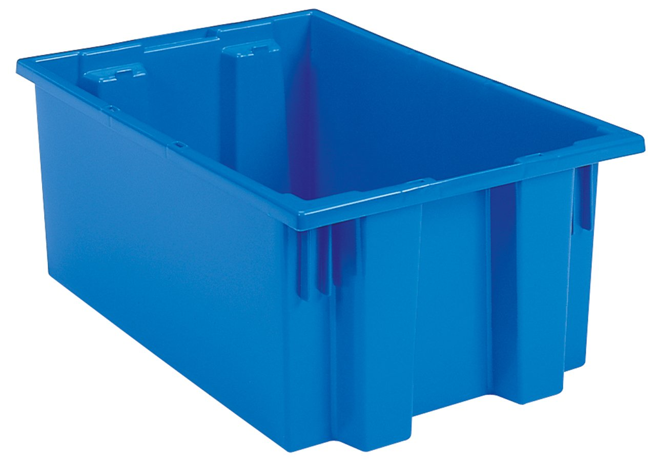 Akro-Mils 35190 Nest and Stack Plastic Storage and Distribution Tote, 19.5-Inch L by 15.5-Inch W by 10-Inch H, Blue, Case of 6 by Akro-Mils