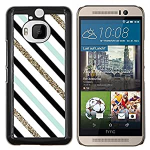 Stuss Case / Funda Carcasa protectora - Teal blanco negro Líneas diagonales - HTC One M9+ M9 Plus