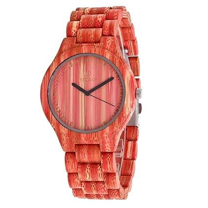 Xhyqs Reloj De Pulsera De Madera para Hombre Vintage Big Dial Reloj De Cuarzo Analógico para