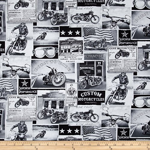 Timeless Treasures Vintage Motorcycles News Fabric ()