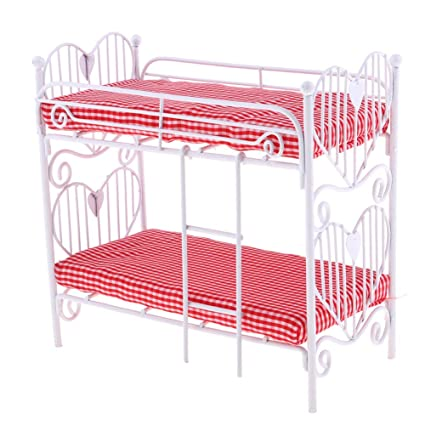 Maserfaliw Toys Miniature 1/12 Scale Mini Bunk Bed Double Decker Model Dollhouse Accessories Plaything