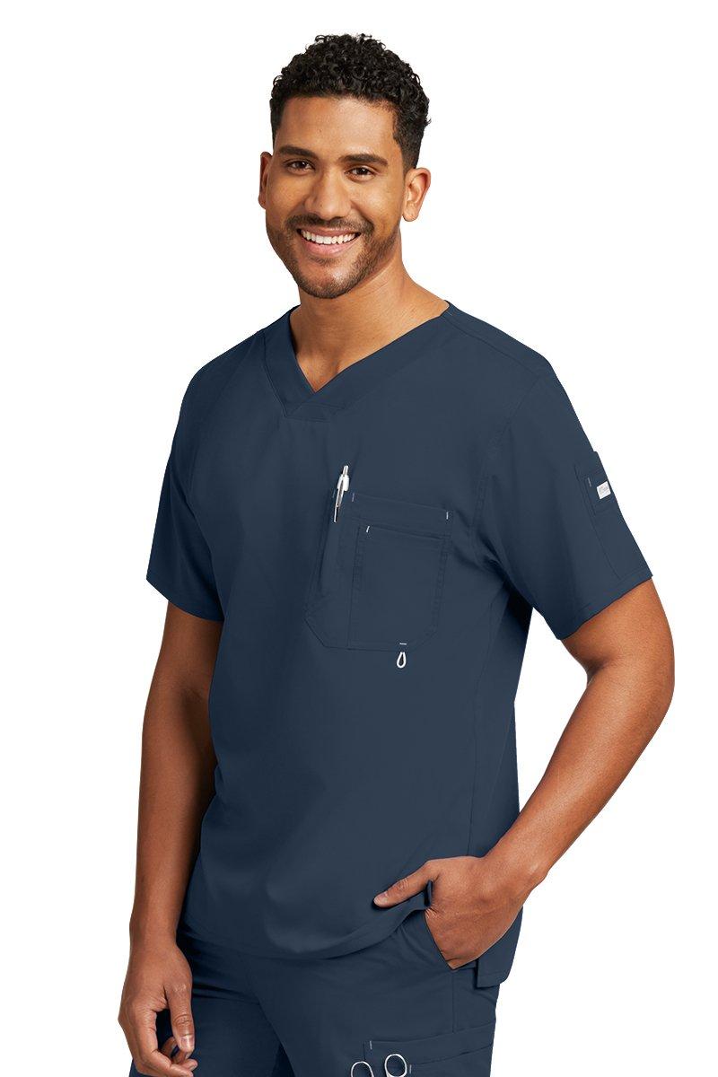 Grey's Anatomy Men's Modern Fit V-Neck Scrub Top, Steel, Medium