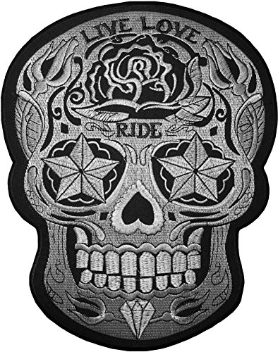 Skull Head Wings - [Large Size] Papapatch Live Love Ride Sugar Candy Skull Head Star Eyes Biker Motorcycle Chopper Jacket Vest Embroidered Sew on Iron on Patch (IRON-LIVE-LOVE-RIDE-SKULL-LARGE)