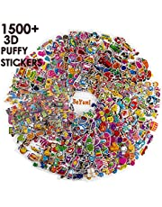BeYumi 58 Different Sheets Kids (1500+Count), 3D Puffy Stickers, Craft Scr Scrapbooking Including Animals, Cars, Truck, Colorful