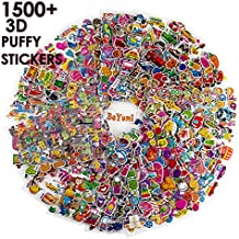 BeYumi 58 Different Sheets Kids Stickers (1500+count), 3D Puffy Stickers, Craft Scrapbooking for Kids, Including Animals, Cars, Trucks, Airplane, Food, Letters, Flowers, Pets and Tons More!