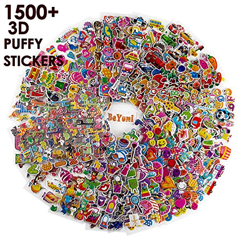 BeYumi 58 Different Sheets Kids Stickers (1500+count), 3D Puffy Stickers, Craft Scrapbooking for Kids, Including Animals, Cars, Trucks, Airplane, Food, Letters, Flowers, Pets and Tons More! Doug Track Support