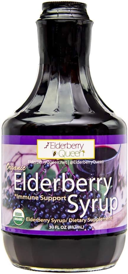 Organic Elderberry Liquid Syrup 30 oz by Elderberry Queen, Sambucus, Aronia Berry, Pure Natural Certified Organic Immune Support Herbal Supplement