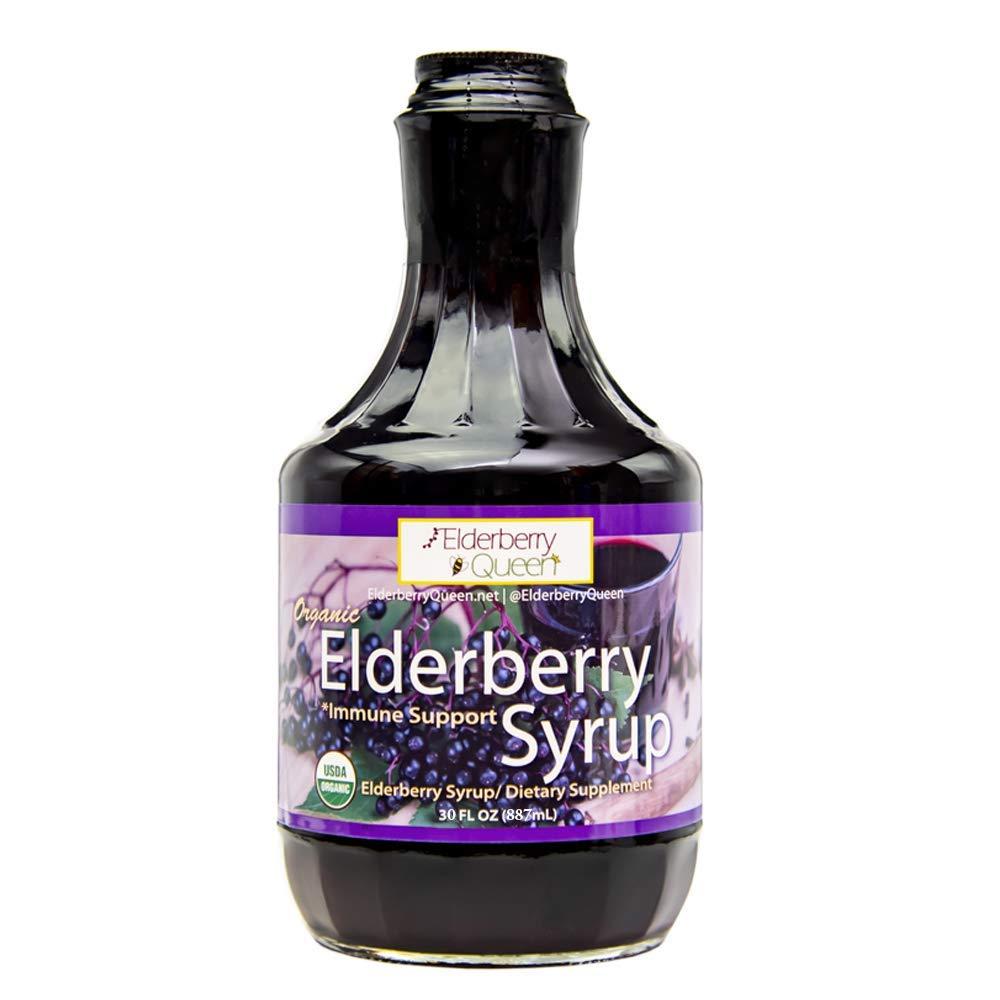 Organic Elderberry Liquid Syrup by Elderberry Queen- Sambucus, Aronia Berry, Pure Natural Certified Organic Immune Support Herbal Supplement (30oz)