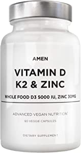 Amen Vitamin D, K2 & Zinc, Cholecalciferol D3 5000 IU, Organic Whole Food Blend with Apple, Blueberry, Cranberry, Elderberry Powder Fruits, Vegan Supplement, D3 K2 Vitamins, Non-GMO - 60 Capsules