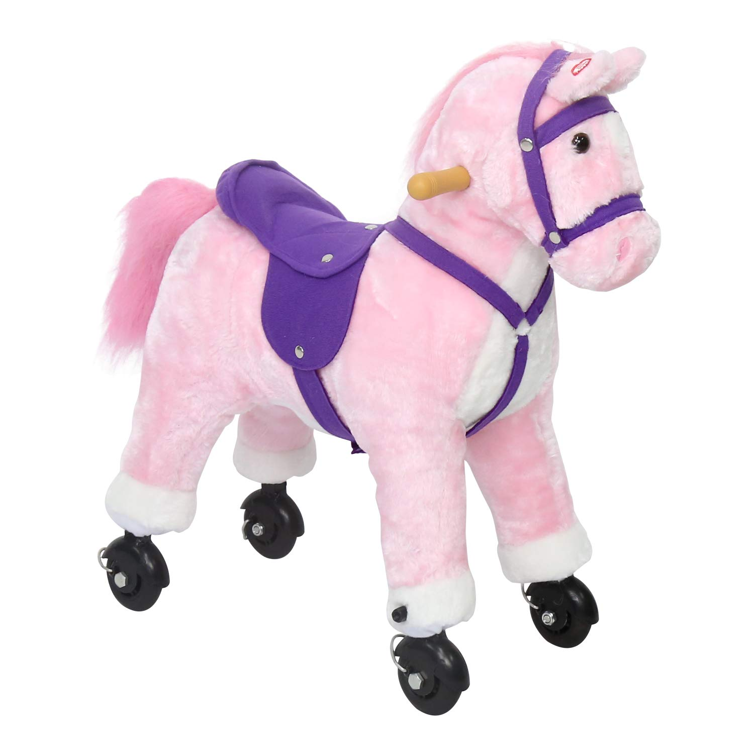 Kinbor Rocking Horse Plush Kids Baby Girls Boys Pony Rocking Horse Ride on Toy Walking Horse Children's Day Birthday Gift with Wheels and Neigh Sound