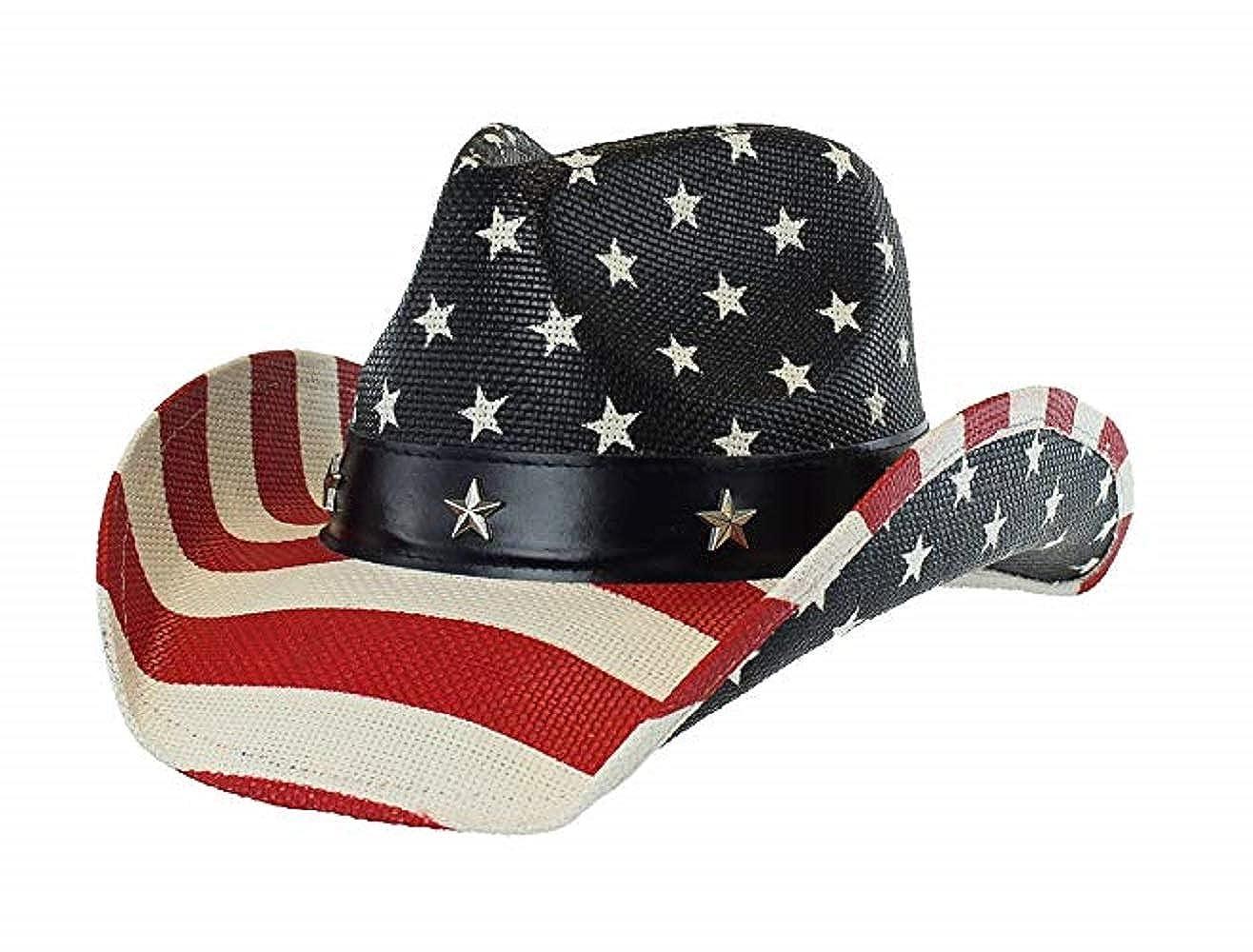 62d654dad Men's Vintage Tea-Stained USA American Flag Cowboy Hat w/ Western Shape-It  Brim