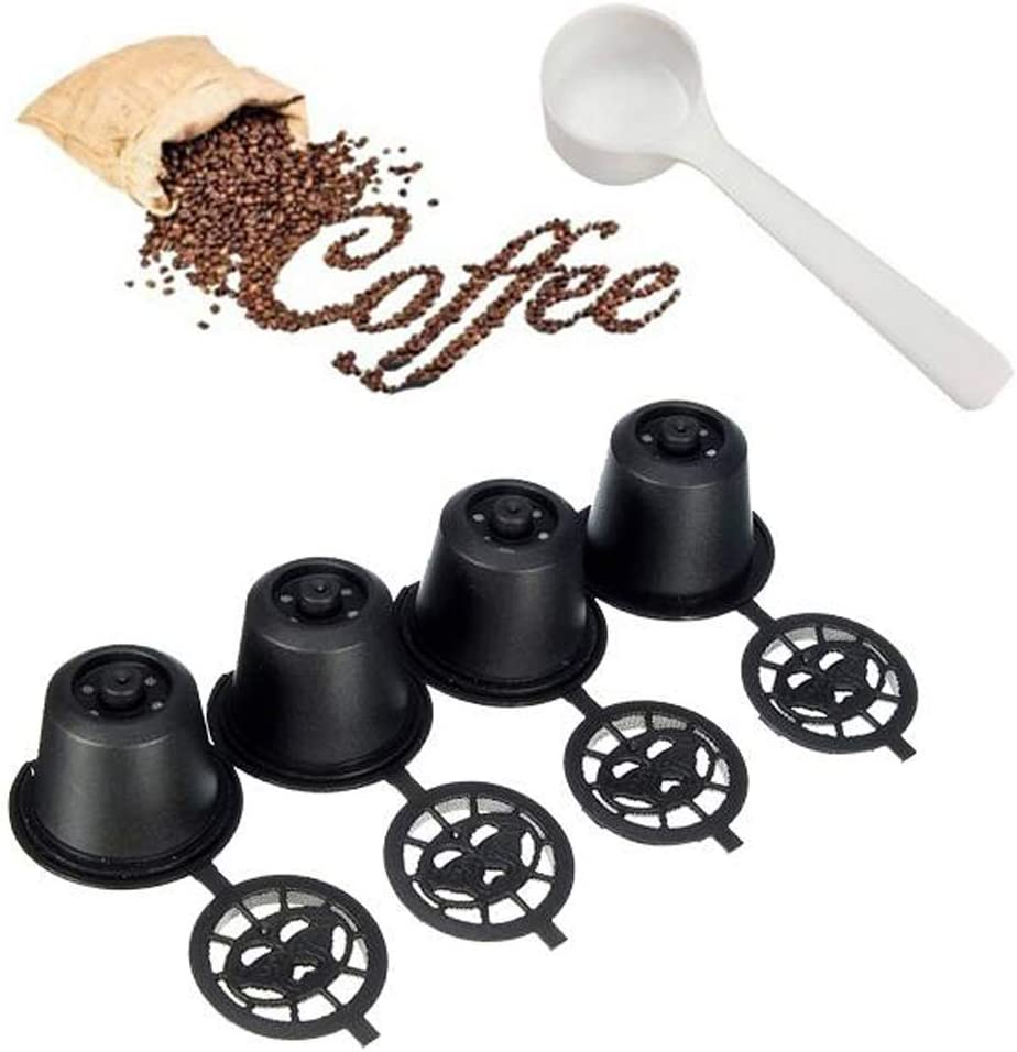 Angzhili 4 Pcs Refillable Reusable Coffee Capsule Filter Cup Refillable Coffee Pods for Nespresso Machines Spoon