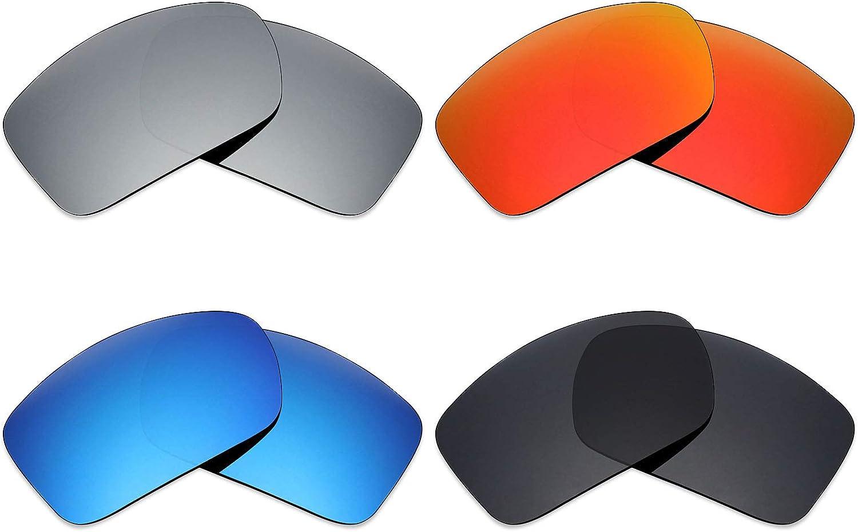 MRY 4pares polarizadas lentes de recambio para Arnette Freezer AN4155sunglasses-stealth negro/fuego rojo/hielo azul/plata titanio