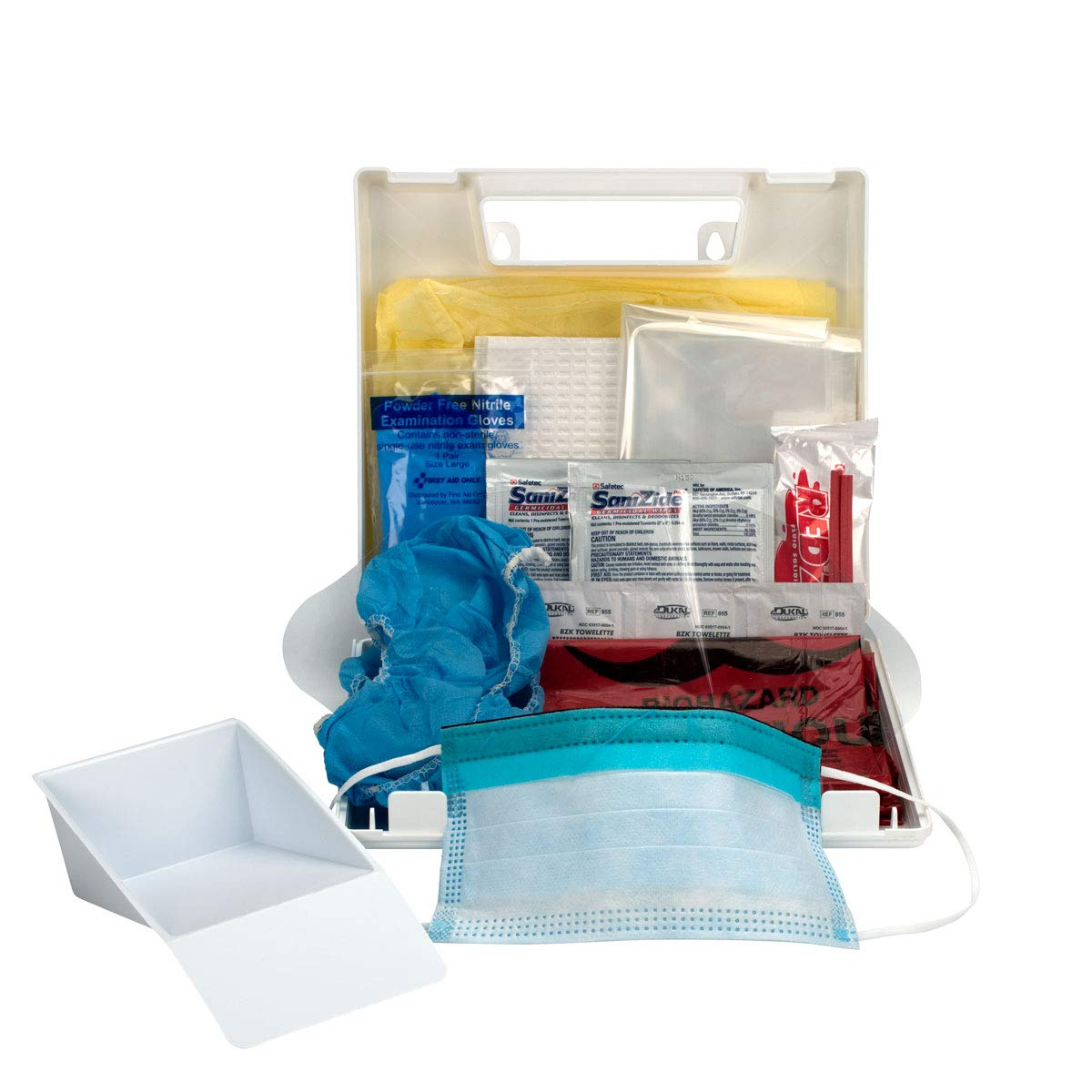 BBP Spill Clean Up Kit, Plastic Case | Wall-Mount Bloodborne Pathogen (BBP) and Bodily Fluid Spill Kit in Plastic Carry Case, OSHA, 24 Pieces, ...