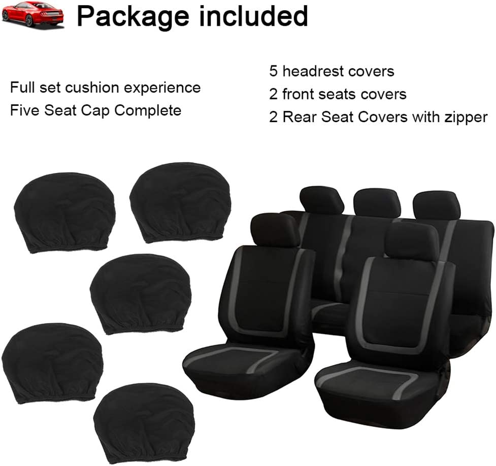 Beige On Black cciyu Seat Cover Universal Car Seat Cushion w//Headrest Cover 100/% Breathable Car Seat Cover Washable Auto Covers Replacement fit for Most Cars