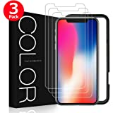 iPhone X Screen Protector, G-Color iPhone 10 Tempered Glass, Bubble Free, Anti-Shatter, Anti-Scratch Screen Protector for Apple iPhone X / 10 (3 Pack, Case Compatible)