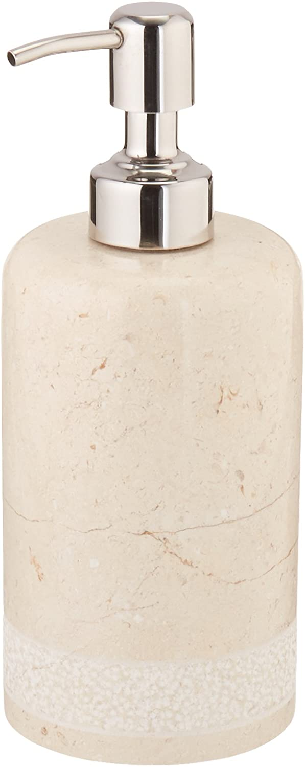 Creative Home 74630 Natural Stone Champagne Marble Hand Carved Liquid Soap, Lotion Dispenser