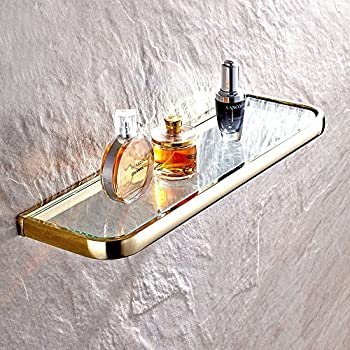 Leyde Solid Brass Bathroom Wall Mount Single Layer Rectangle Glass Shelf  Black Gold Finish Bathroom Storage