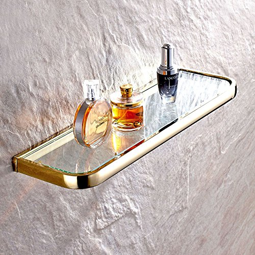 Leyde Solid Brass Bathroom Wall Mount Single Layer Rectangle Glass Shelf Black Gold Finish Bathroom Storage Bathroom Accessories (Solid Brass Shelf Bracket)