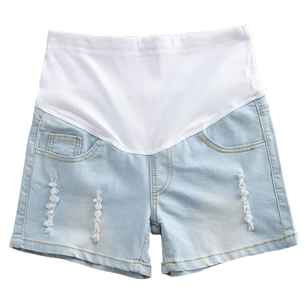 AFirst Summer Pregnant Women Adjustable Elastic Care Belly Maternity Denim Shorts