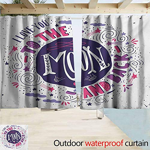(AndyTours Rod Pocket Curtains,I Love You Sweet Colorful Love with Fun Forms Comet Rain Storm Clouds Volcano Theme,Energy Efficient, Darkening,W72x72L Inches,Pink Violet Purple)