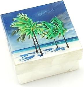 Kubla Craft Beach with Palm Trees Capiz Shell Keepsake Box, 3 Inches Square
