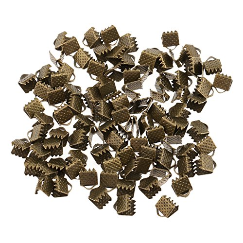 Jili Online 100 Pieces Clasps Clamps Fasteners End for Jewelry Making - Bronze, 6mm