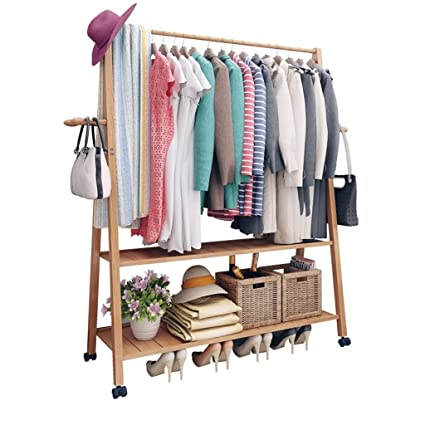 Amazon.com: XJRHB Multi-Function Bamboo Rack Hanger Coat ...