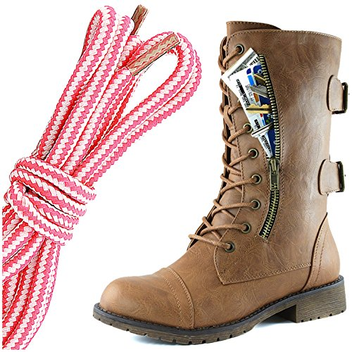 DailyShoes Womens Military Lace Up Buckle Combat Boots Mid Knee High Exclusive Credit Card Pocket, Pink White Slim Tan