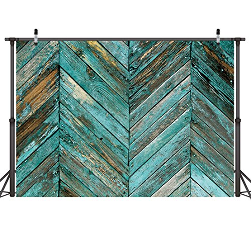 LYWYGG 7x5ft Thin Vinyl Photography Backdrops Old Green Skew Wood Floor Backdrop Newborn Photo Background for Photo Booth Studio Props CP-20 ()