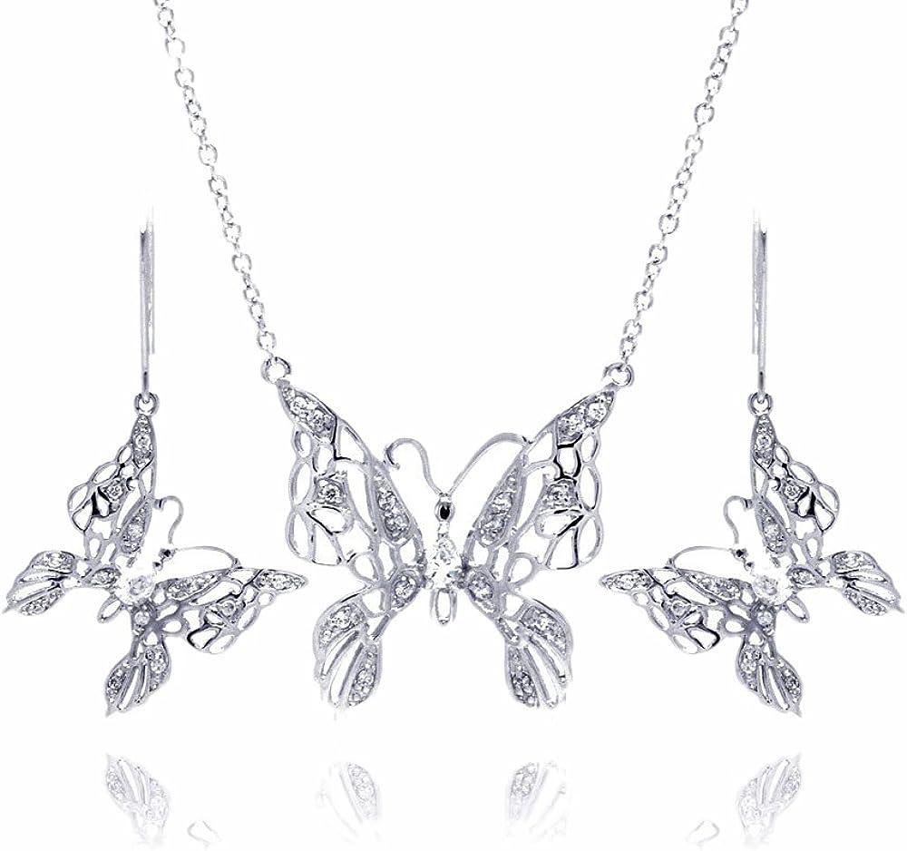 Sterling Silver CZ Butterfly Hook Earring /& Necklace Set 16 2 Ext.