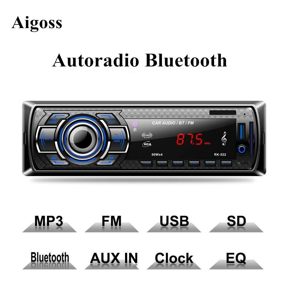 Aigoss Autoradio Bluetooth, Control Remoto Manos Libres FM Esté reo de Coche 60W x 4, Apoyo de Reproductor MP3 Llamadas Manos Libres, Funció n de Radio y de Archivo Control Remoto Manos Libres FM Estéreo de Coche 60W x 4 BTONE