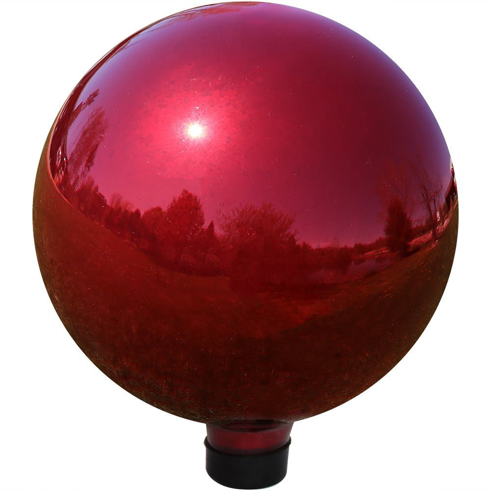 Sunnydaze Gazing Globe Glass Mirror Ball, 10 Inch, Stainless Steel Red