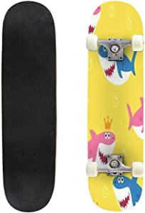 Classic Concave Skateboard Baby Shark Seamless Pattern Vector Drawing Cute for Kids Longboard Maple Deck Extreme Sports and Outdoors Double Kick Trick for Beginners and Professionals