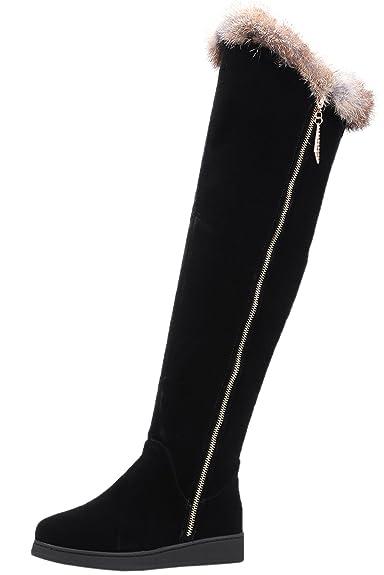 Overknees Stiefel Damen Elegant Faux Wildleder Erhöhte Herbst Winter Warm Schwarz Flach Lang Stiefel von Bigtree 37 EU Lf4AwWNZ