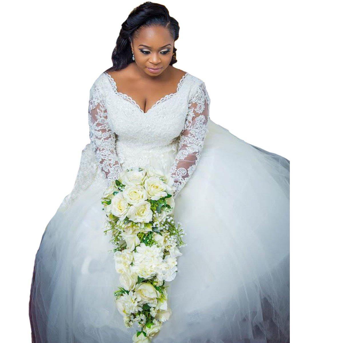 Yuxin Modest Plus Size Wedding Dresses 2019 V Neck Lace Long ...