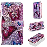 Case for Galaxy S9,Smooth PU Leather Wallet Cover Bling Glitter Sparkle Flip Kickstand Carrying Case with Wrist Strap Magnetic Closure Card Slots Compatible with Samsung Galaxy S9 -Butterfly
