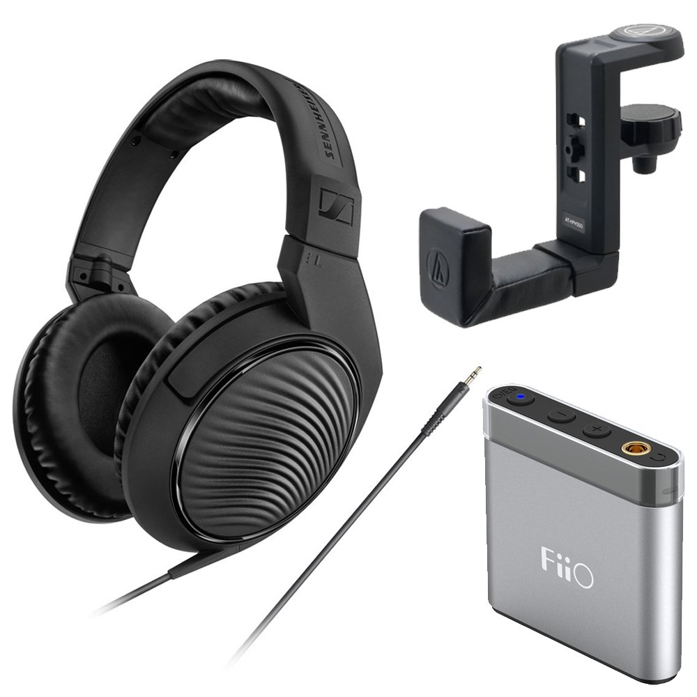 Sennheiser HD 200 Pro Monitoring Headphones plus FiiO Headphone Amp and Headphone Hanger by Sennheiser