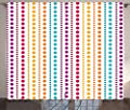 Colorful Curtains by Ambesonne, Half Toned Retro Striped Pattern Big Little Polka Dots Symmetrical Vibrant Colors, Living Room Bedroom Window Drapes 2 Panel Set, 108 W X 108 L Inches, Multicolor