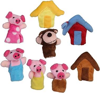 8pcs Marionetas Títeres de Dedos Cuento de Hadas de Tres Cerditos para Canción Infantil: Amazon.es: Juguetes y juegos