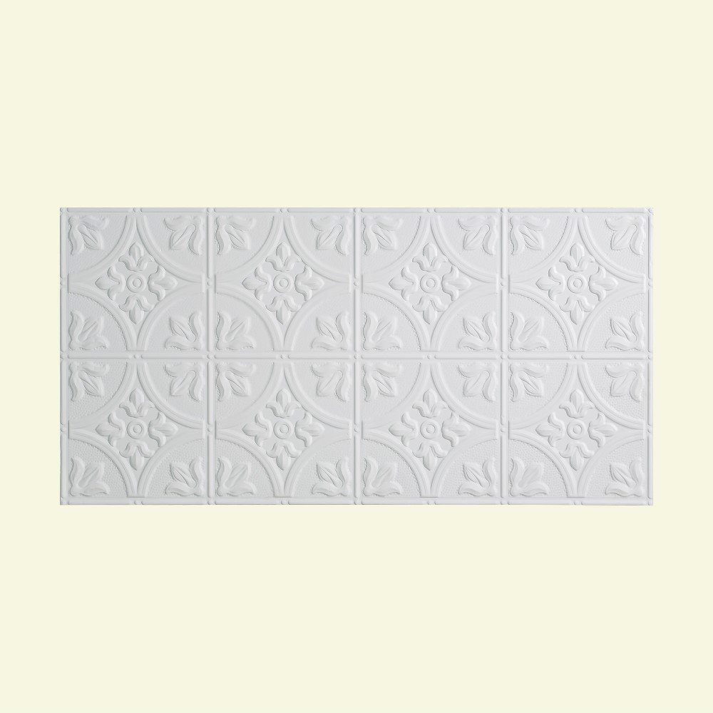 Fasade Easy Installation Traditional 2 Gloss White Glue Up Ceiling Tile/Ceiling Panel (2' x 4' Panel) by Fasade
