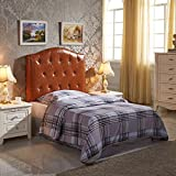 VisionXPro,Inc.. Luxury Comfort Twin-size Brown Faux Leather Button Tufted Headboard