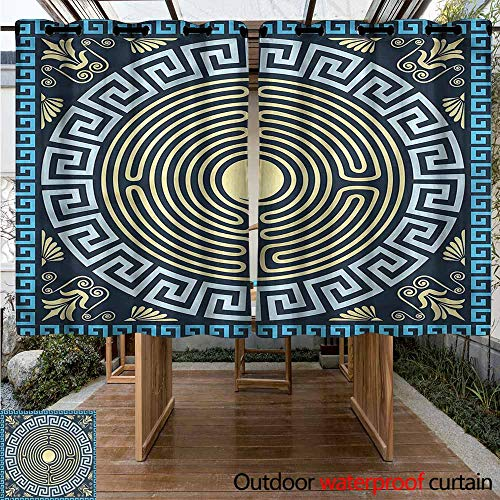 Sunnyhome Grommet Outdoor Curtains Greek Key Ancient Labyrinth for Patio/Front Porch W 63