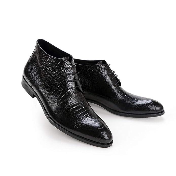 Hombres De Alta Superior Zapatos Británicos, Botines De Cocodrilo Negro, Vestido Lazo Brock Botas De Los Hombres: Amazon.es: Zapatos y complementos