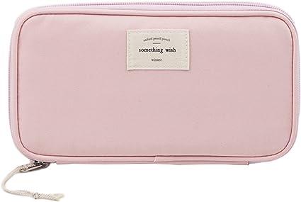 Estuche multiusos con cremallera y bolsillos, bastante ligero. Medidas: 21,5 x 11,5 cm. De la marca iSuperb, color rosa: Amazon.es: Oficina y papelería