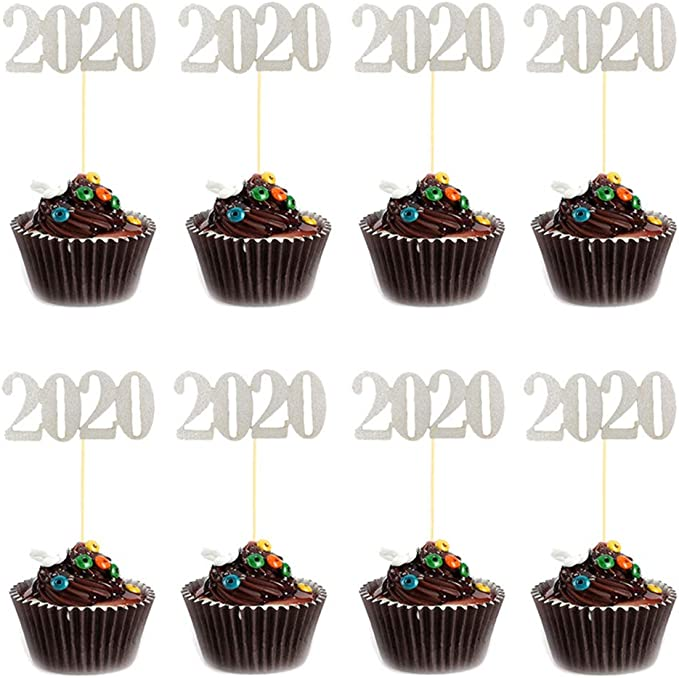 Topper Dessert Flag Decor Party Baking Supplies Purple Newrys 24Pcs 2020 Number Birthday Cake Cake Topper Party Decor Decorations