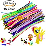 300pcs Pipe Cleaners 30 Colors Extra Long Reusable Chenille Craft Stems for DIY Art Craft, Kids Safe & Assorted Colors (6 mm x 12 Inch (Colorful)
