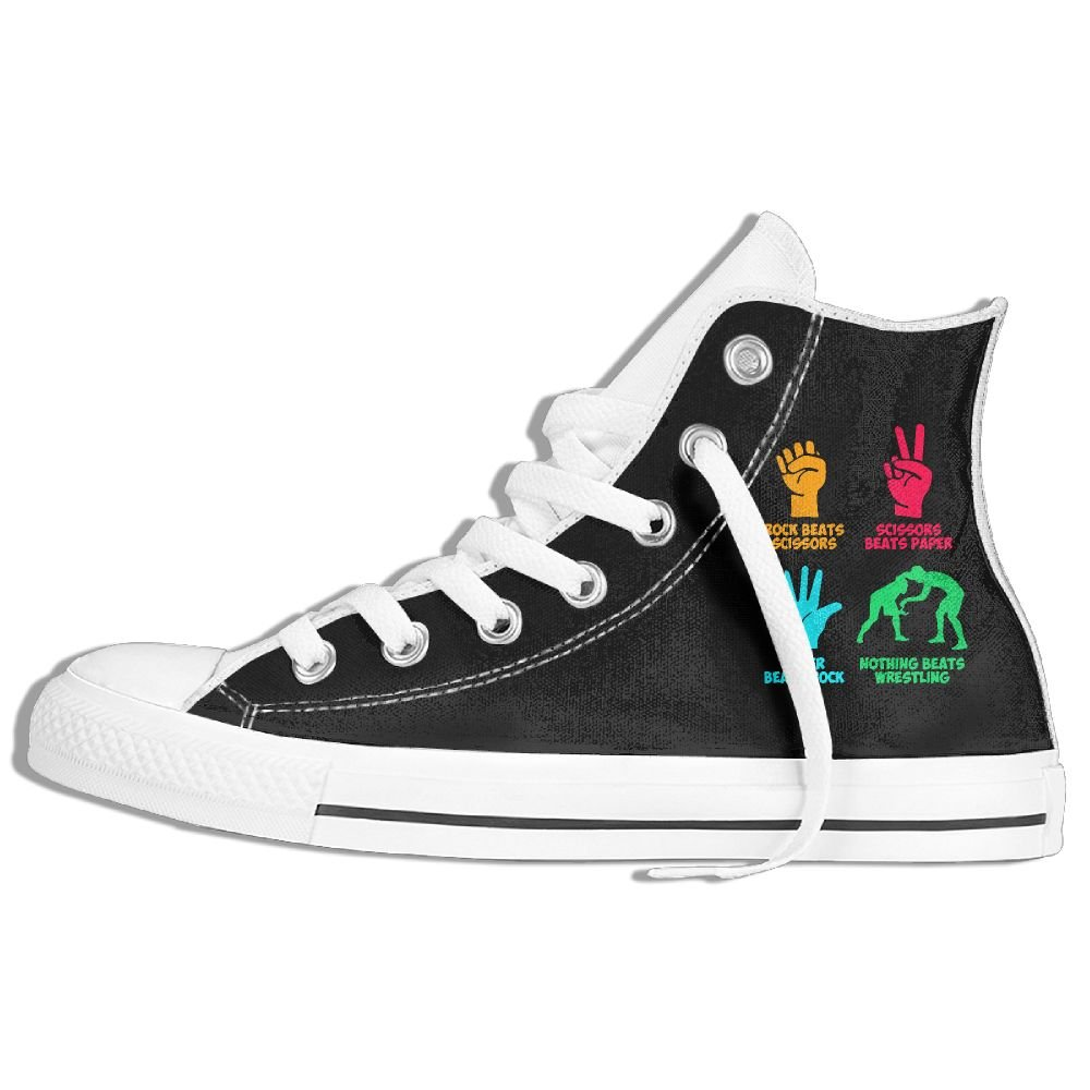 Rock Paper Nothing Beats Wrestling Unisex High Top Sneakers Classic Canvas Shoes 37